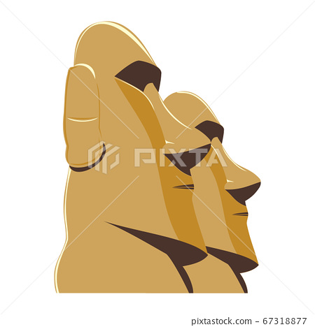 Moai Monolithic Statues Polynesia Easter Islands, vector illustration 67318877