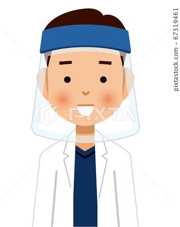 戴著口罩的醫生的插圖 67319461