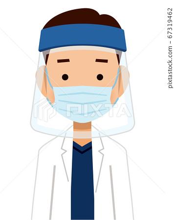 戴著口罩的醫生的插圖 67319462