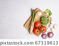 Group of organic fresh vegetables - green 67319613