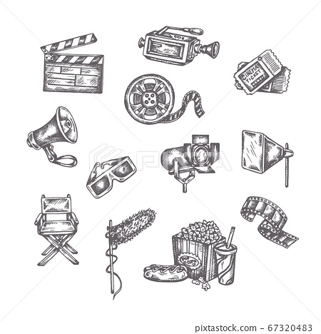Vector sketches of cinema. Hand drawings on a white background. Entertainment arts handdrawn decorative icons set 67320483