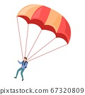 Adventure parachuting icon, cartoon style 67320809