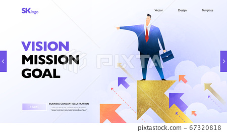 Vision concept banner. Businessman standing on the golden arrow sign looking forward to the future goal. 67320818