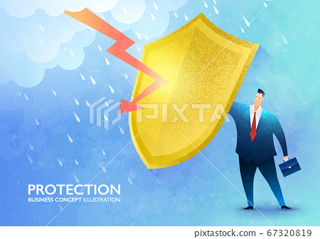 Business protection concept. Businessman rising the golden shield against rainstorm and lightning protecting from harm. 67320819