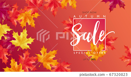 Autumn sale layout decorates with maple leaves for sale promotion banner 67320823