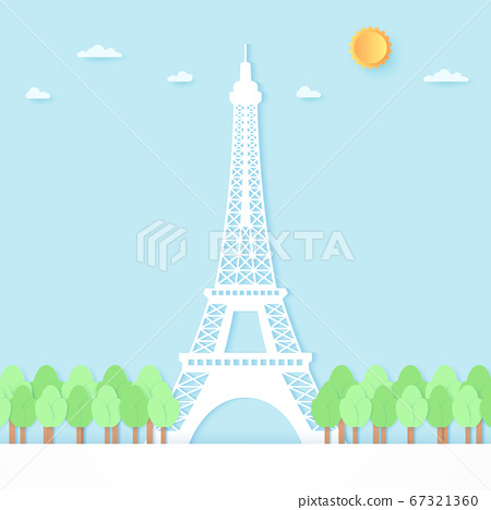 Eiffel tower surrounded by trees, blue sky and sun, paper art style 67321360