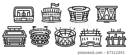 Arena icons set, outline style 67322891