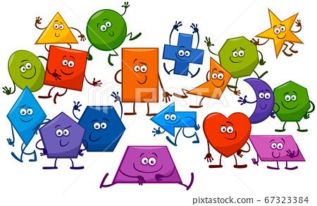 Cartoon Playful Basic Geometric Shapes Characters 67323384
