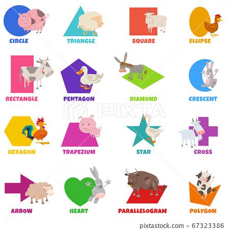 basic geometric shapes with cartoon farm animals 67323386