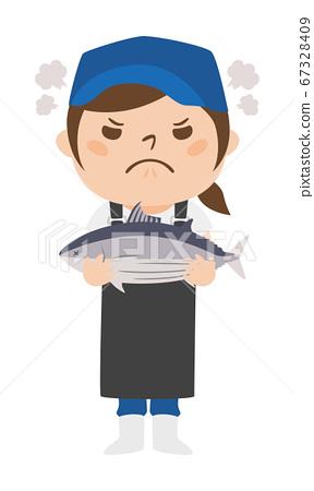 拿著魚skip的一位惱怒的女性魚販子的例證。 67328409