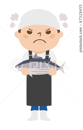 拿著魚skip的一位惱怒的魚販子的例證。 67328455