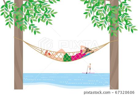 在度假村的吊床上休息的女人 67328686