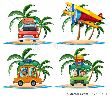 Group of transportation on the tropical island 67329324