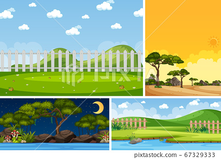 Four background different nature scenes with green 67329333