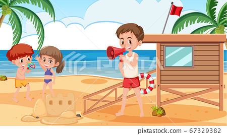 Background scene with people on the beach 67329382