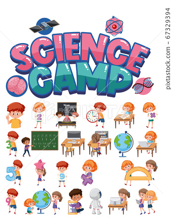 Science camp logo and set of children with 67329394