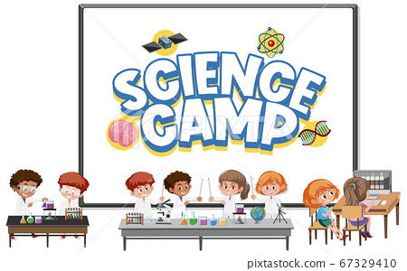 Science camp logo with children wearing scientist 67329410