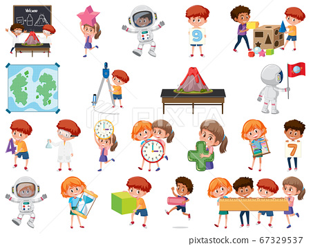 Set of children with education objects isolated 67329537