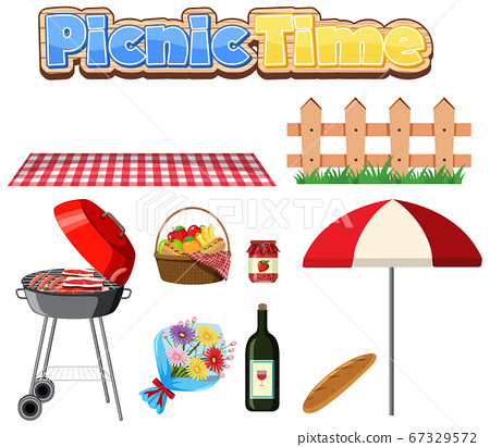 Set of picnic with BBQ grill and food on white 67329572