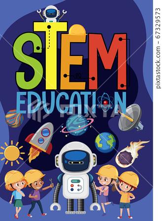 Stem education logo with kids wearing engineer in 67329573