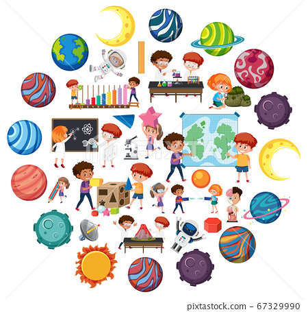 Set of children with science education objects 67329990
