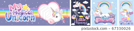 Cute unicorn banner on pastel background color 67330026