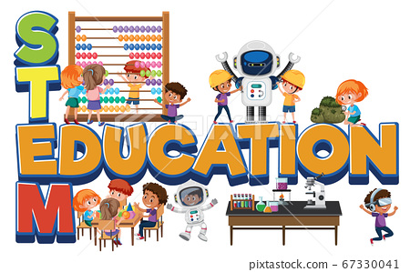 Stem education logo with kids in many education 67330041
