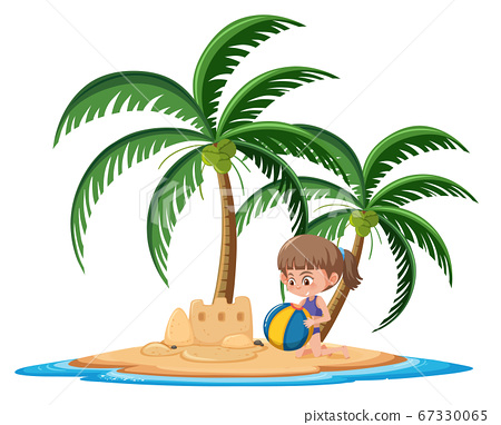 Girl on the tropical island building sand castle 67330065