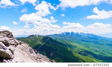 초여름의 蓼科山 등산 : 여자 乃神 찻집 (蓼科山 등산로 입구) 코스에서 바라 타케 67331103