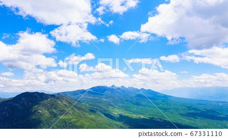 초여름의 蓼科山 등산 : 여자 乃神 찻집 (蓼科山 등산로 입구) 코스에서 바라 타케 67331110