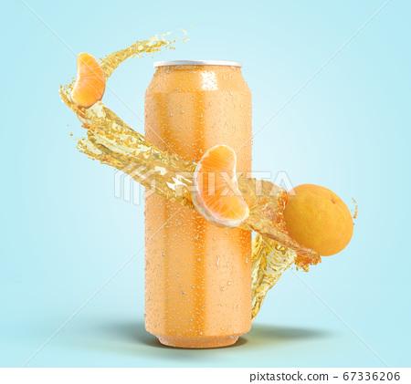 tangerine fruit soda in an iron can splash of 67336206