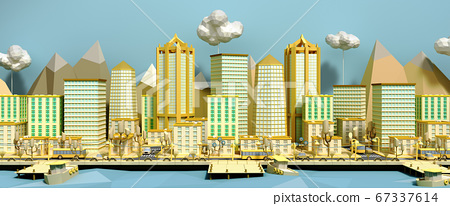 yellow toy low poly city 3d render on blue 67337614