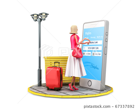 travel concept cartoon woman with a suitcase 67337892
