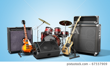 musical instrument guitars and speakers 67337909