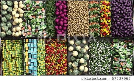 vegetables on shelves in a supermarket 3d render 67337963