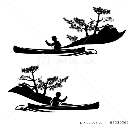 black vector silhouette of man rowing in canoe boat and pine tree shore 67339562