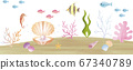 Summer sea tropical tropical watercolor illustration background material 67340789