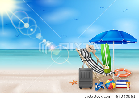 Vector Summer Holiday Illustration with Beach Ball, Palm Leaves, Surf Board and Typography Letter on Blue Ocean Landscape Background. 67340961