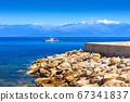 Sea, boat, snow mountains, Peloponnese, Greece 67341837
