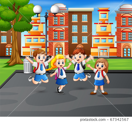 Happy children in uniform at jumping at the park 67342567