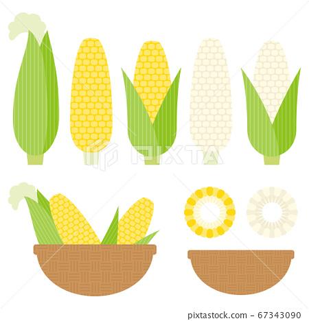 幾何玉米插圖集 67343090