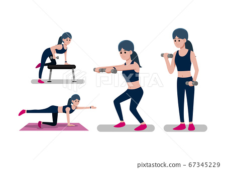 Woman doing workout weight training 67345229
