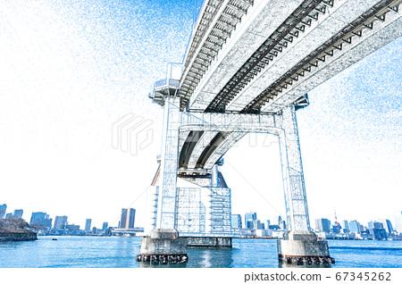 [城市風光]台場彩虹橋[彩色鉛筆] 67345262