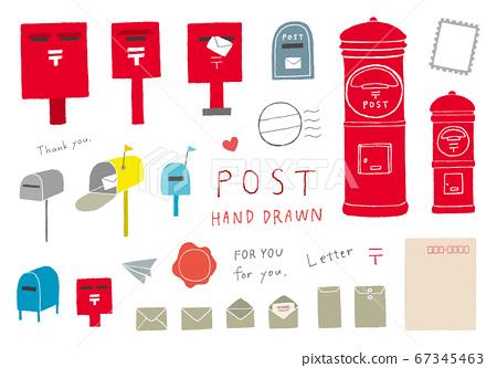 與郵政信箱和信件有關的手繪插圖(彩色) 67345463