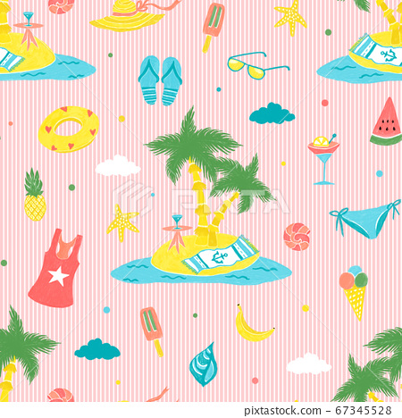 Seamless pattern summer beach theme, illustration 67345528