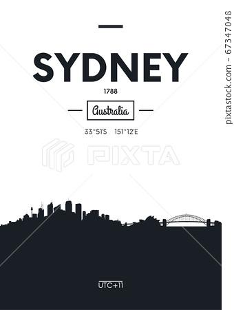 Poster city skyline Sydney, Flat style vector 67347048