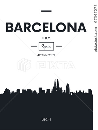 Poster city skyline Barcelona, Flat style vector 67347078