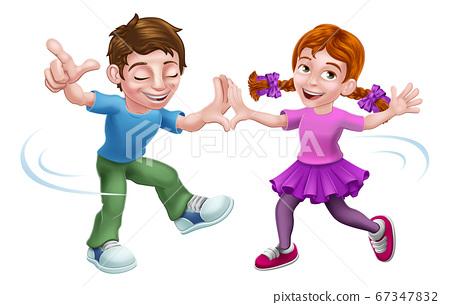 Boy and Girl Kid Cartoon Child Characters Dancing 67347832