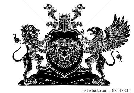 Coat of Arms Crest Griffin Lion Family Shield Seal 67347833