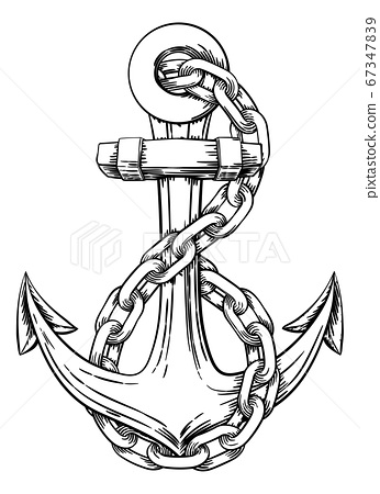 Anchor from Boat or Ship Tattoo Drawing 67347839